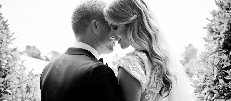 Black and White Wedding Couple Photo