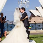 professional photo of bride and groom wedding ceremony at opera house sydney